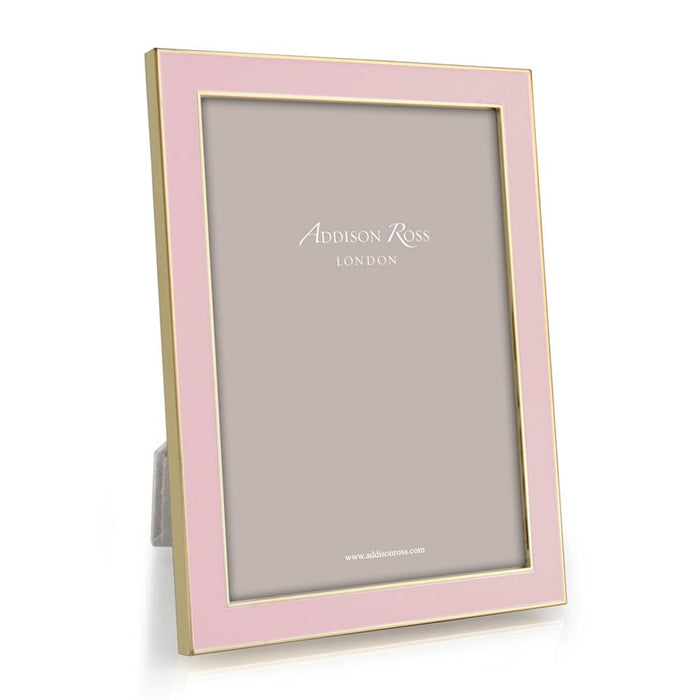 Light Pink Enamel and Gold Frame  - Available in 2 Sizes