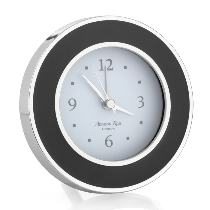 Black and Silver Round Alarm Clock