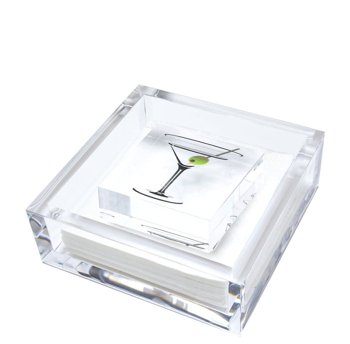 Martini Glass Lucite Napkin Holder