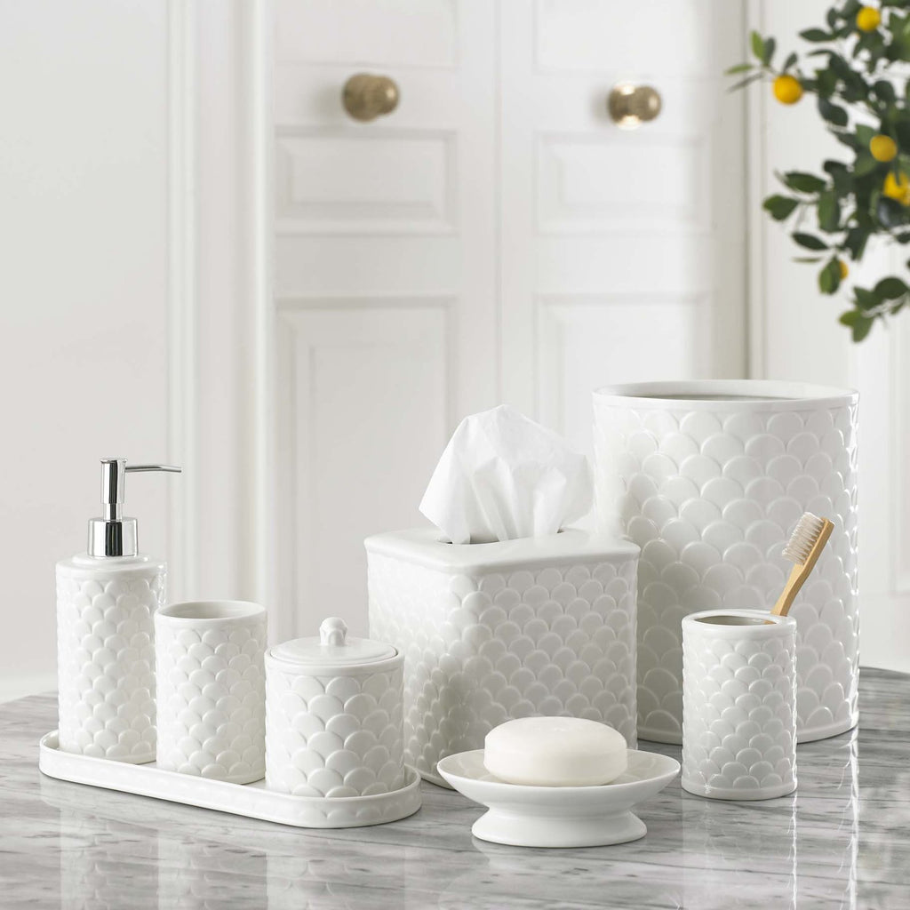 Scalloped White Tissue Holder