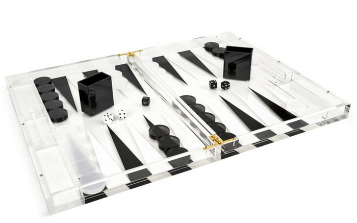Black and White Lucite  Backgammon Set