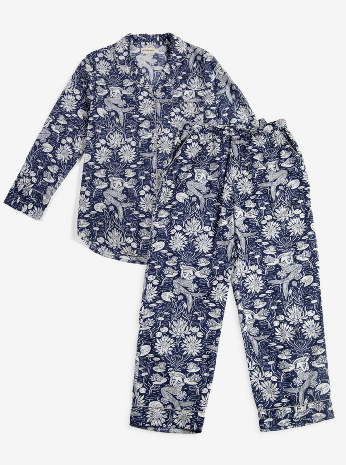 Water Lily Mermaid Long Sleep Set - Indigo
