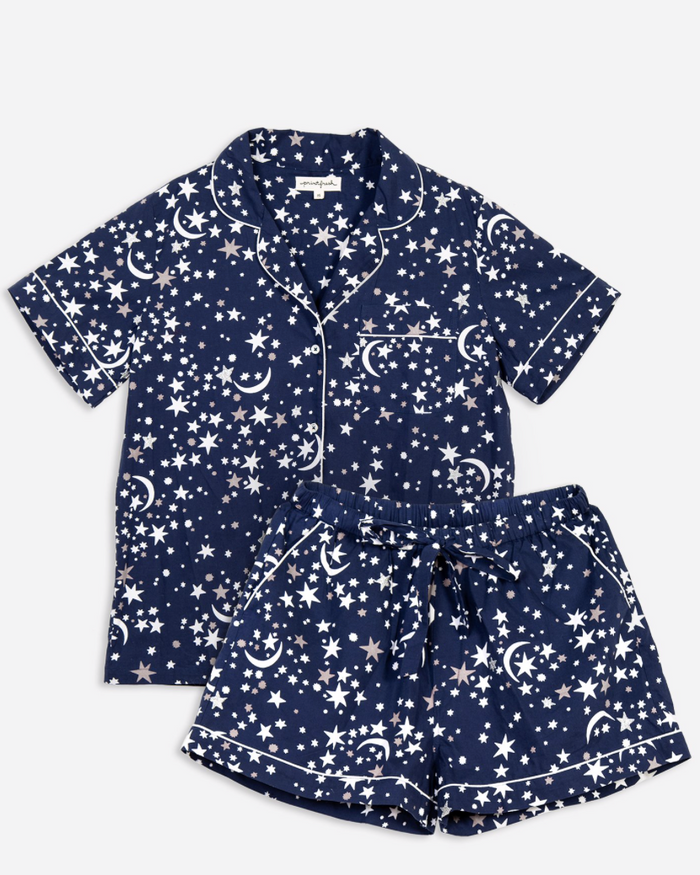 Celestial Skies Short Sleep Set - Indigo