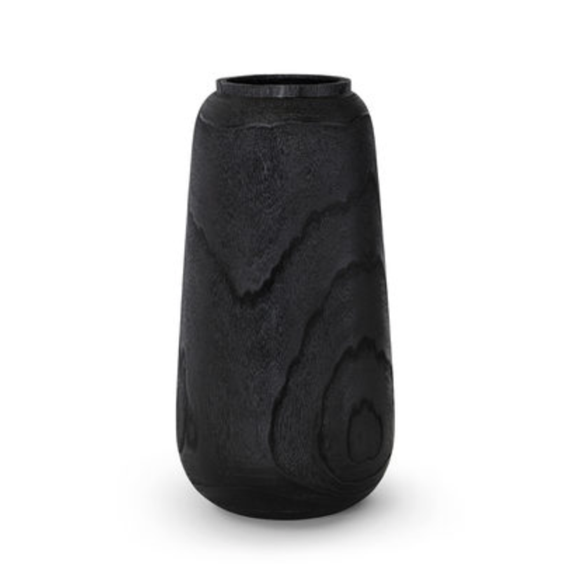 Black Charcoal Wood Vase - Available in 2 Sizes