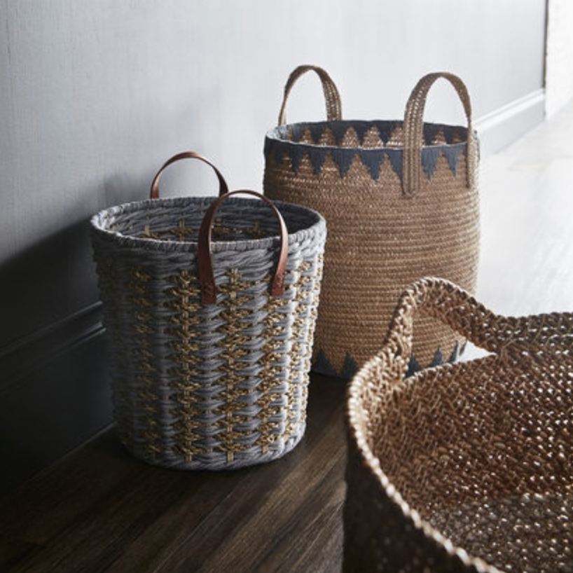 Blue and Natural Woven Basket