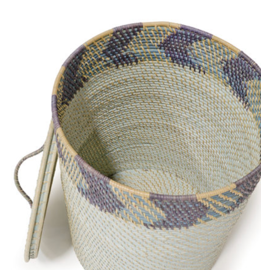 Blue Chevron Basket with Lid