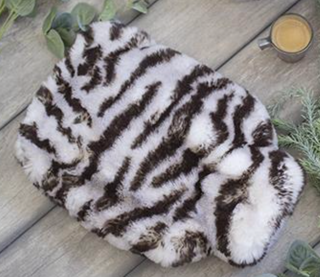 White Tiger Faux Fur Water Bottle Cover