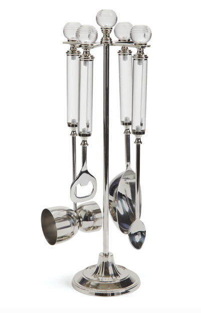 Mixologist Bar Tool Set with Polished Nickel and Acrylic Handles