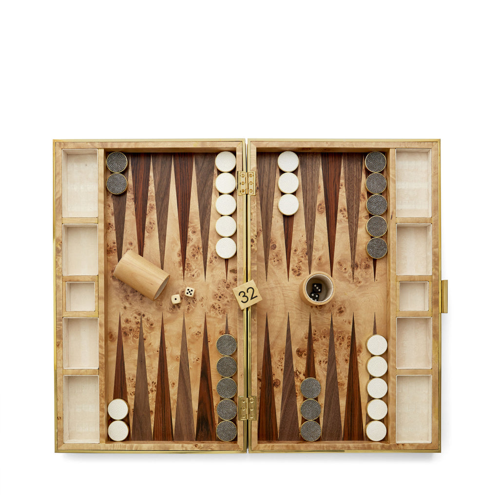Aerin Wood & Shagreen Backgammon Set
