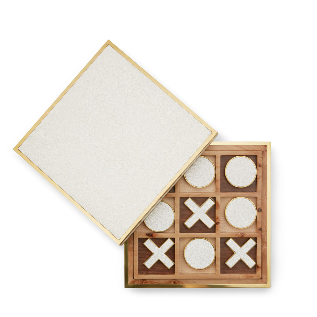 Aerin Wood & Shagreen Tic Tac Toe Game Board