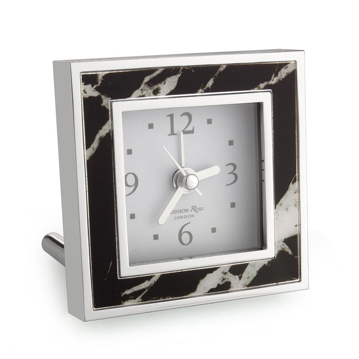 Black Marble Square Alarm Clock
