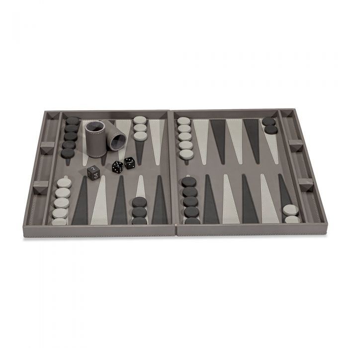 Grey Leather Backgammon Set