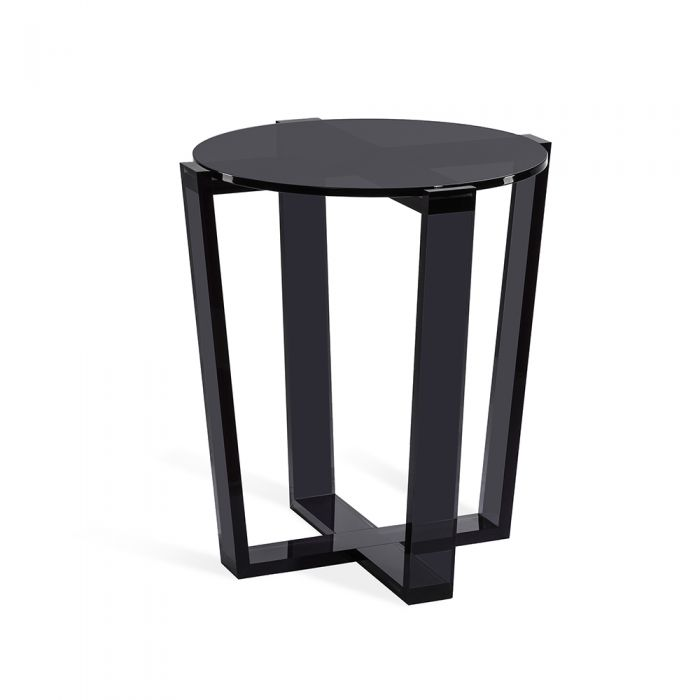 Round Modern Smoke Acrylic Side Table with Glass Top
