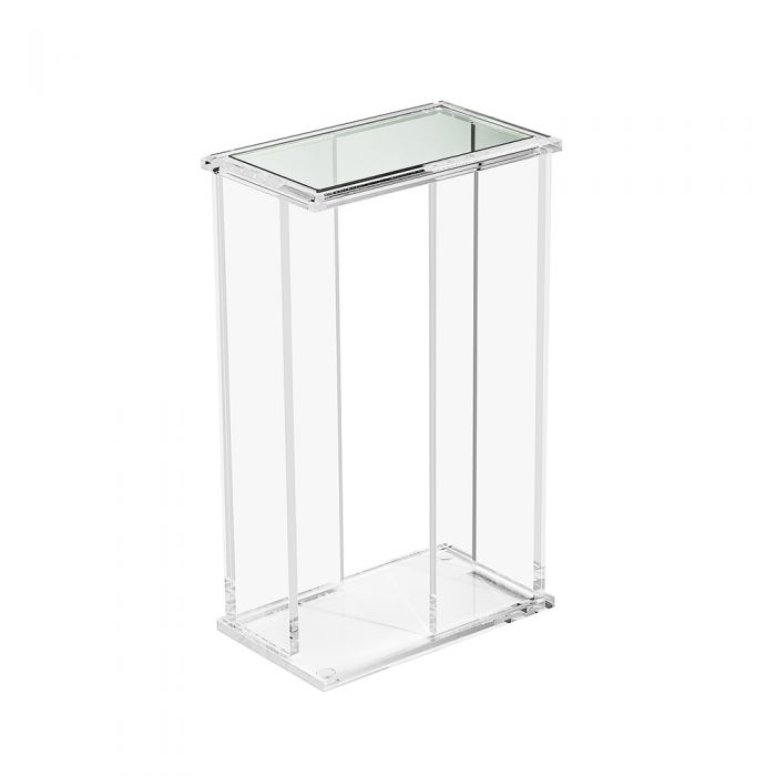 Rectangular Clear Acrylic with Glass Top Drink Table
