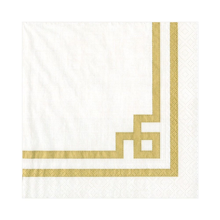 GOLD WHITE RIVE PAPER LUNCH NAPKIN