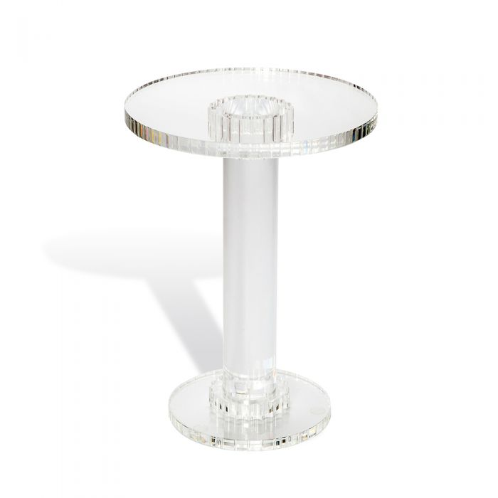 Faceted Edged Clear Acrylic Side Table