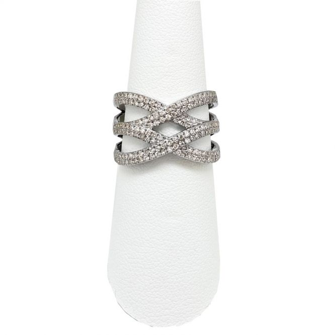 Basketweave  Pave Diamond Ring