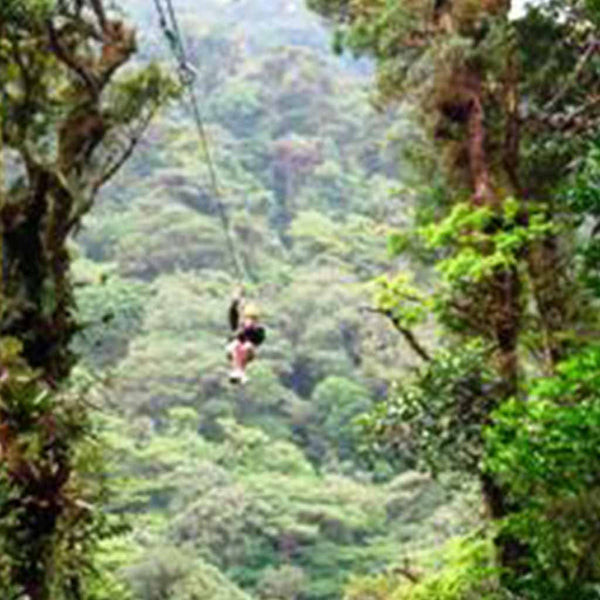 Canopy Tour Costa Rica flying through air