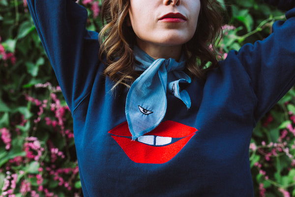 Toothy Lips Neckerchief (Hickey-hider) Red on Chambray