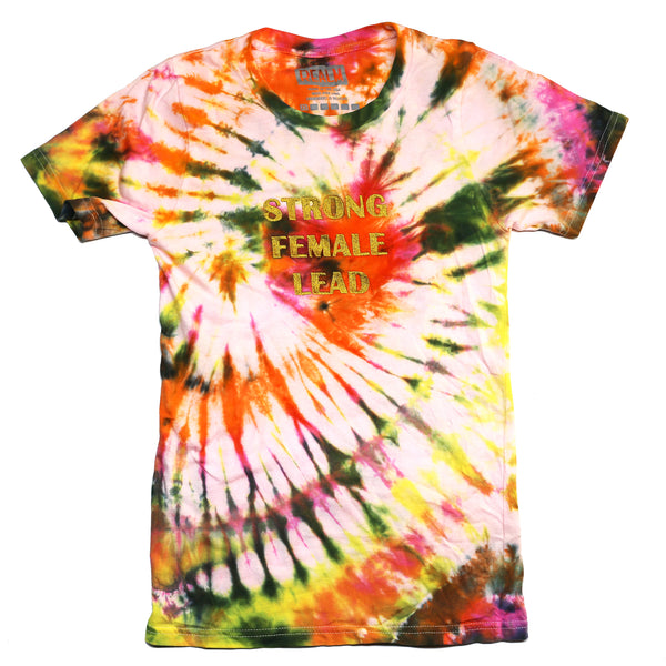 Tie-Dyed Strong Female Lead Shirt with Embroidered Lettering