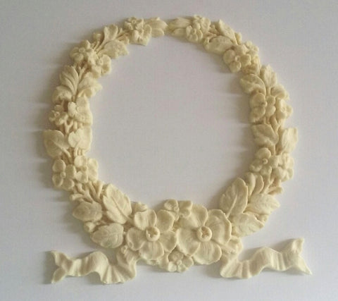 Forget Me Not Wreath with ribbon silicone mold - mould