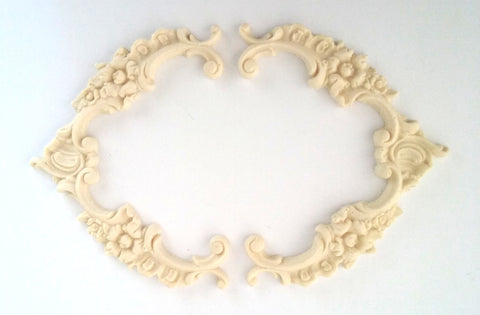 Floral Baroque Frame with Rose detail silicone mold - mould