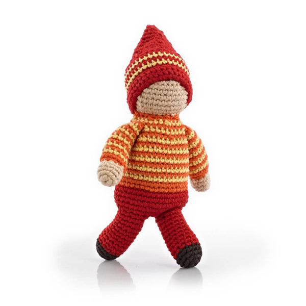 Organic Crochet Rattle: Red Pixie Acorn