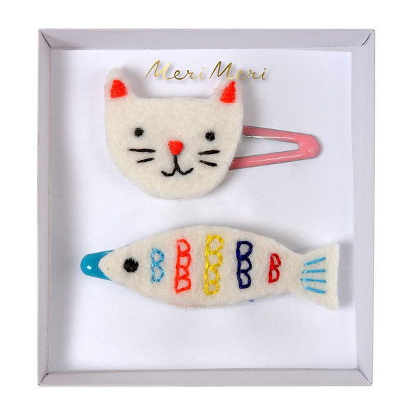 Embroidered Cat and Fish Hair Clips