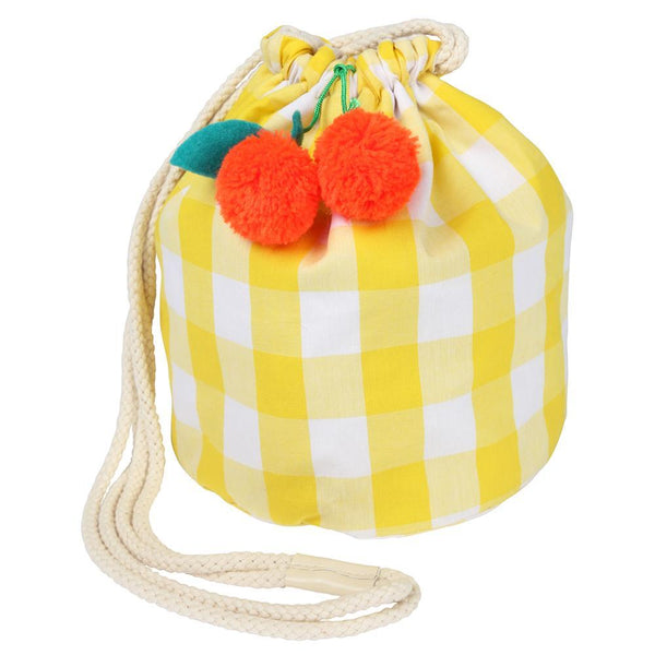 Cherry Gingham Plaid Drawstring Bag