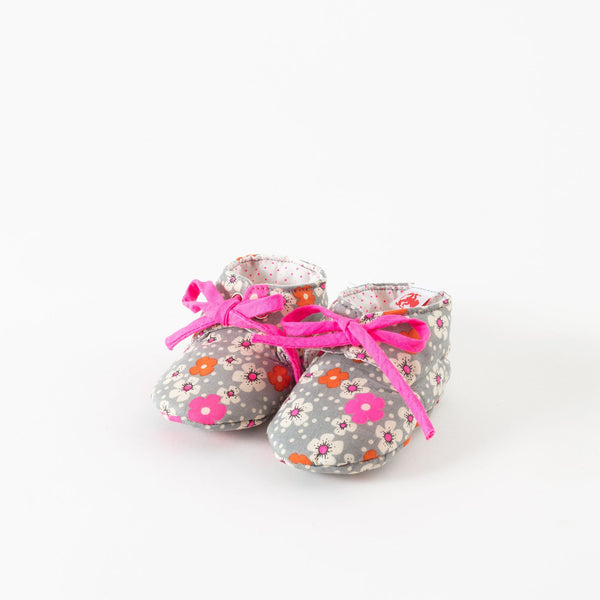 French Chic Baby Shoes- Gray Floral