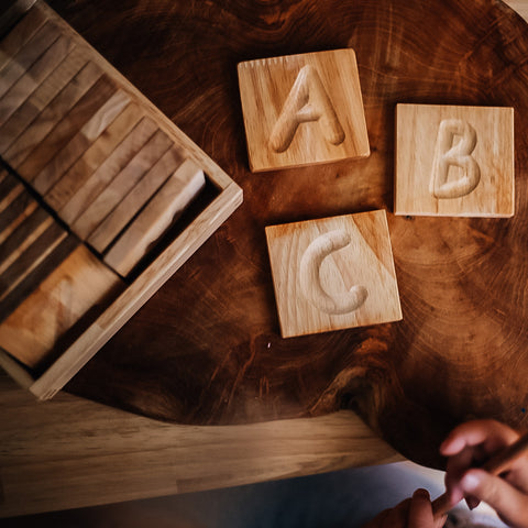 Wooden Capital Letter Tracing Tile Set