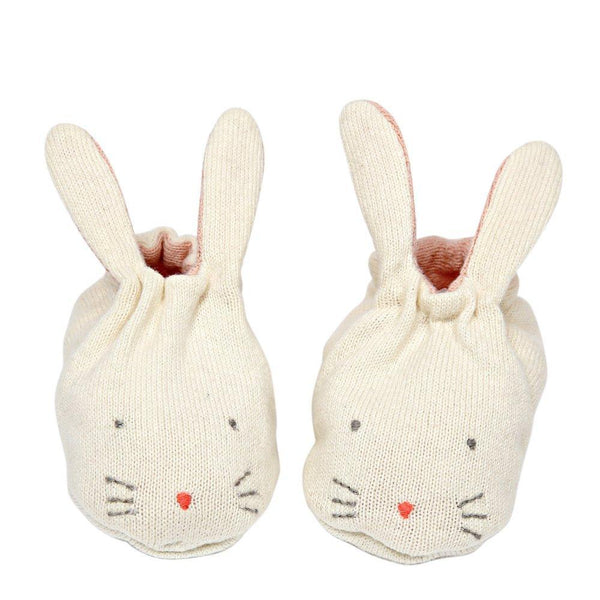 Peach Bunny Baby Booties