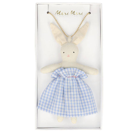 Plaid Bunny Doll Necklace