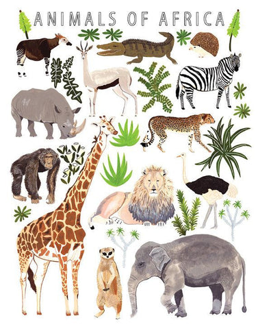 Animals of Africa Print Poster