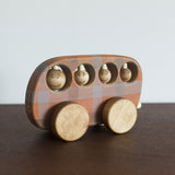 Wooden Checkered Toy Bus