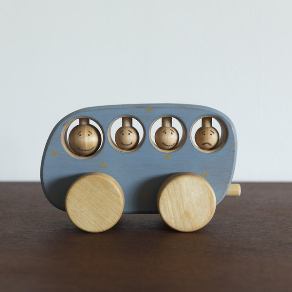 Wooden Blue Toy Bus