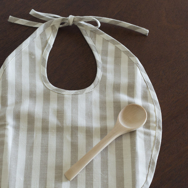 Bib and Spoon Set - Taupe Stripe