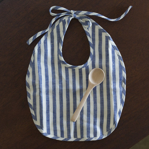 Bib and Spoon Set - Indigo Stripe