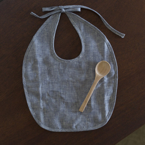 Bib and Spoon Set - Indigo Linen