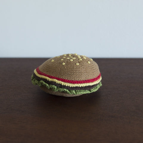 Organic Hamburger Toy Baby Rattle
