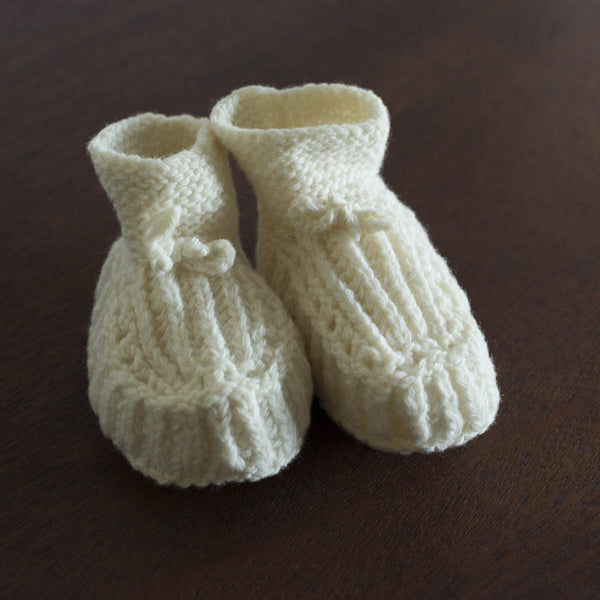 Knitted Baby Booties - White Linen