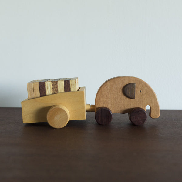 Wooden Elephant Push Toy with Dominos