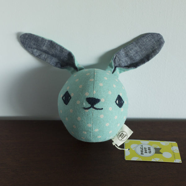 Polka Dot Club Mint Dot Rabbit Rattle