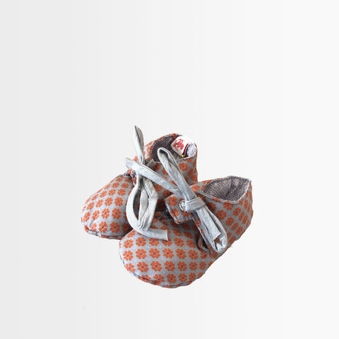 French Chic Baby Shoes- Gray with Orange Pattern
