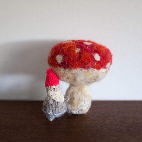 One of a Kind Red Toadstool Mushroom and Gnome