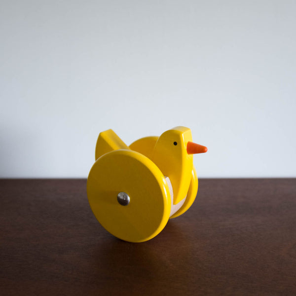 Wooden Wobbling Chicken Toy- Yellow