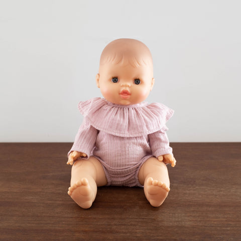 French Baby Doll Outfit: Cotton Pink Lurex Body Suit