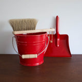 Metal Red Bucket with Wooden Handle