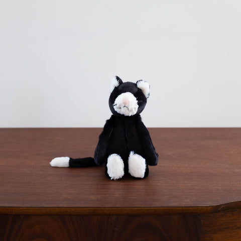 Bashful Black and White Kitten Doll- Small