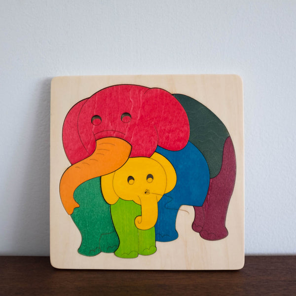 Wooden Puzzle: Elephant Family